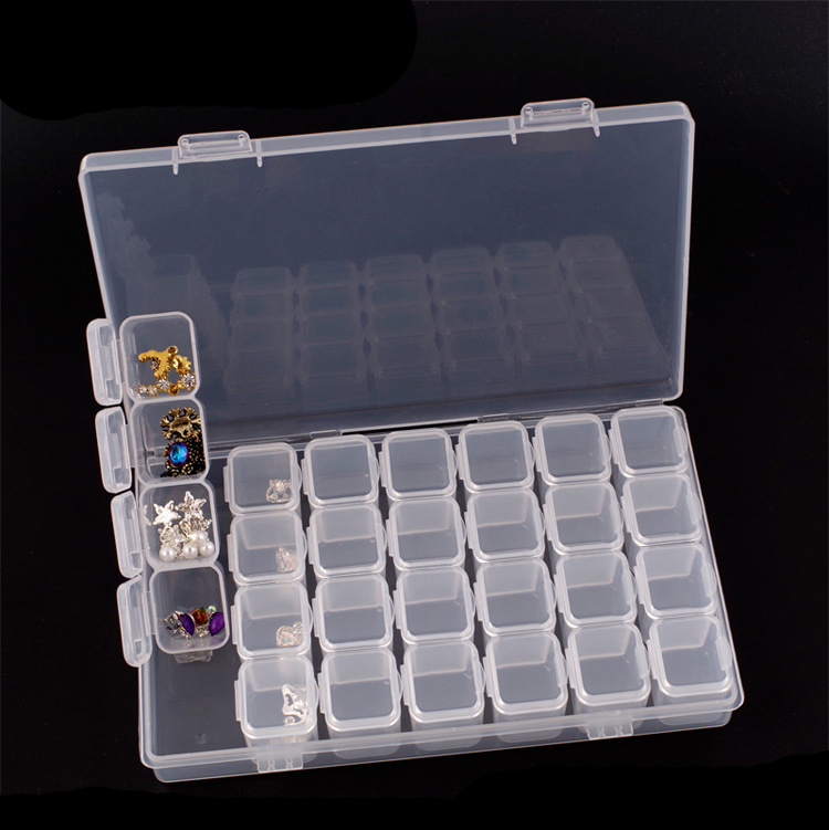 28 girds Plastic Storage Box Diamond Painting kits Nail Art Rhinestone Tools Beads Organizer Diamond Embroidery Accessories-5