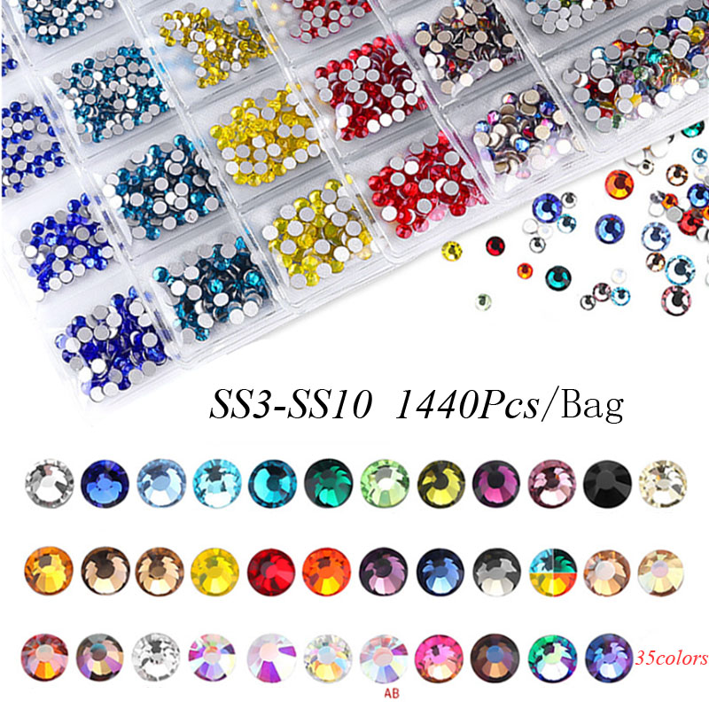 Swarovsky 35 Colors SS3-SS10 1440Pcs  Flatback Charm Glass Gems Diamonds Nail Crystals Nail Art Decoration