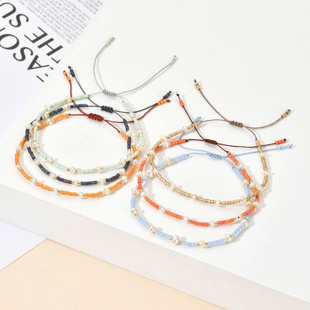 ZMZY Boho Beads Pearls Bracelet MIYUKI Delica Glass Crystal Bracelets For Women Boho Handmade Thin Rope Chain Jewelry