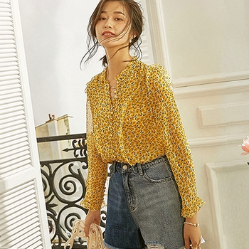 Top Selling 100% Double Layer Silk Blouse Casual Style Floral Printed Ruffled Neck Buckle Long Sleeves Office Tops Elegant Style New Fashion — stackexchange