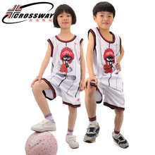 Enfants ensemble de basket-ball uniformes kits sueur absorption basket-ball maillots sport costumes bricolage personnalisé formation enfants costumes porter(China)