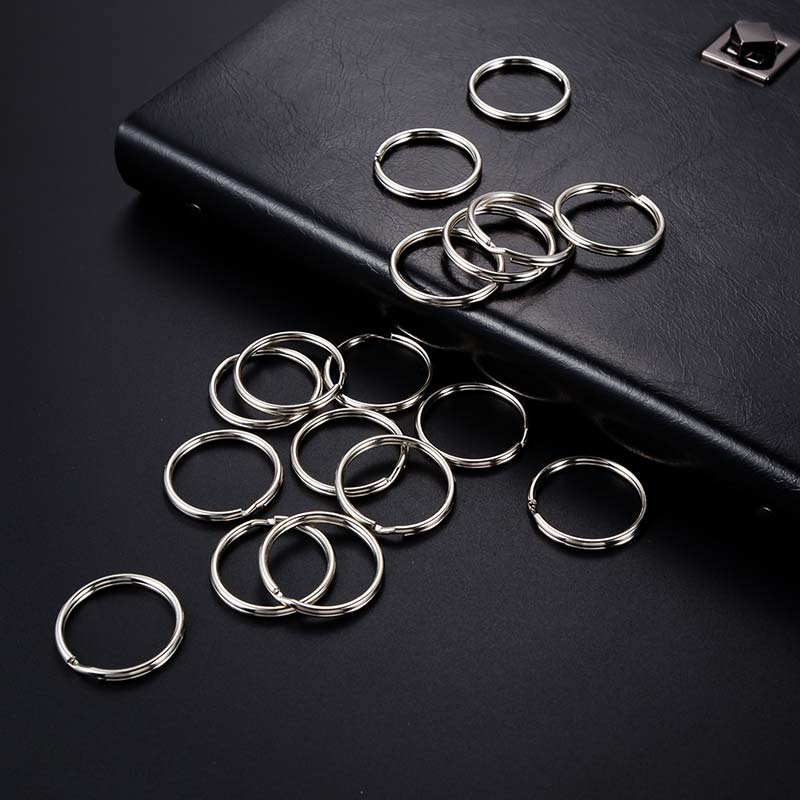 10pcs/lot 15mm 20mm 23mm 28mm 30mm 32mm 35mm 38mm Stainless Steel Hole Hole Key Chain Rhodium Plated Round Split Keychain Ring