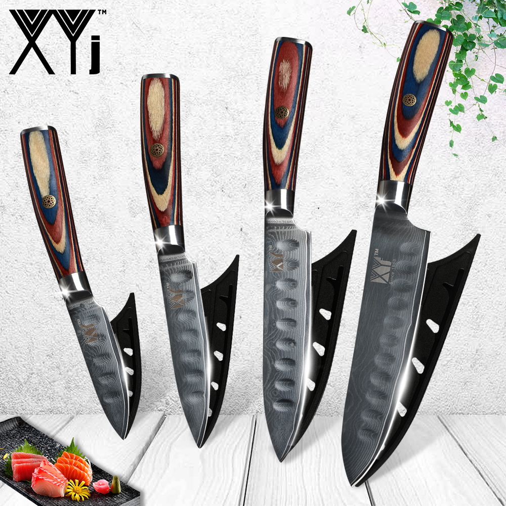 XYj 4 Piece Damascus Knives Bend Handle VG10 Damascus Steel 3 4 5 6 inch Kitchen