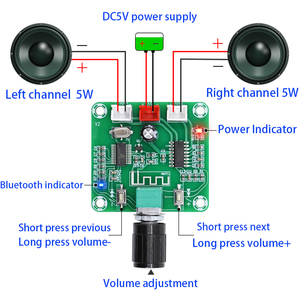 Image 4 - Tenghong PAM8403 Bluetooth 5.0 Power Amplifier Board 5W*2 Two Channel Stereo DIY Wireless Speaker Sound Amplifier Board DC5V AMP