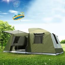 Ultralarge אולם אחד שני שינה עמיד למים נגד גדול גשם קמפינג אוהל ביתן גדול אראקה Tente חיצוני מסיבת אוהל כרפס