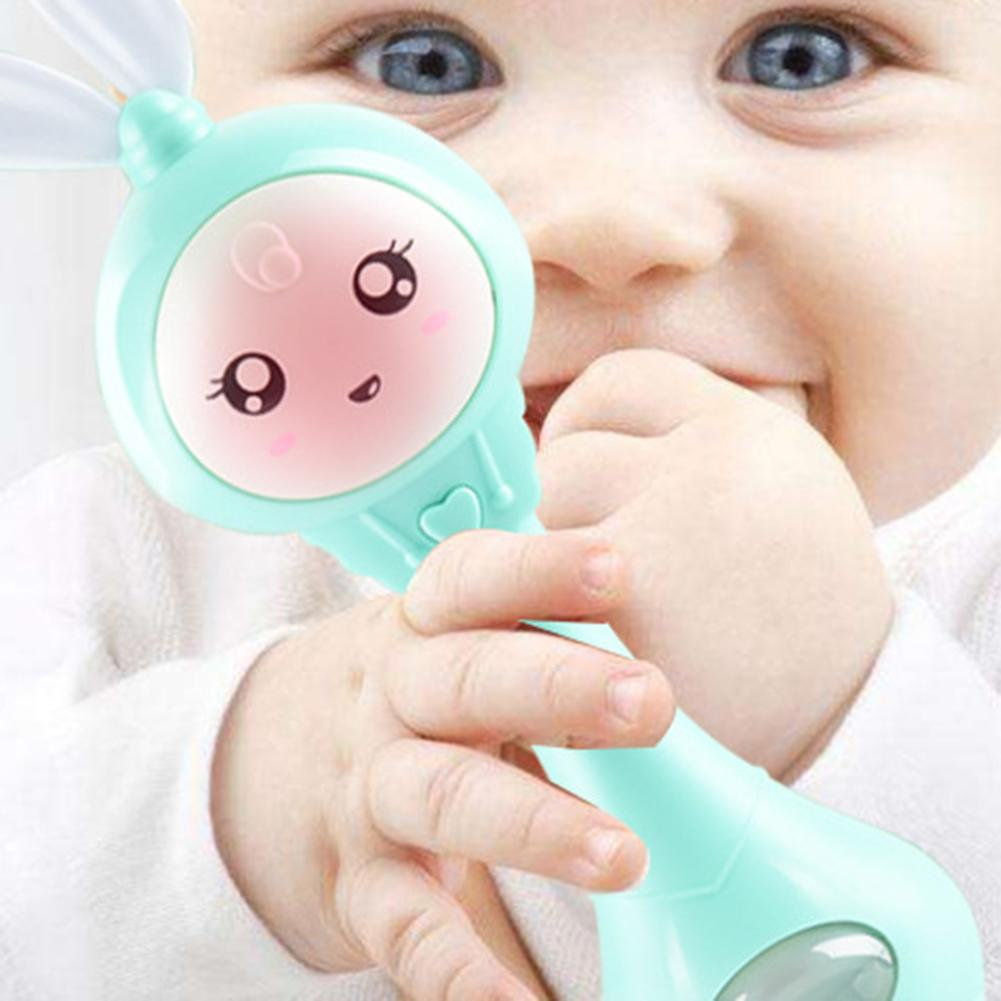 Cartoon Rabbit Baby Shaking Rattle Hand Bell With Music Light Teether Toy Gift