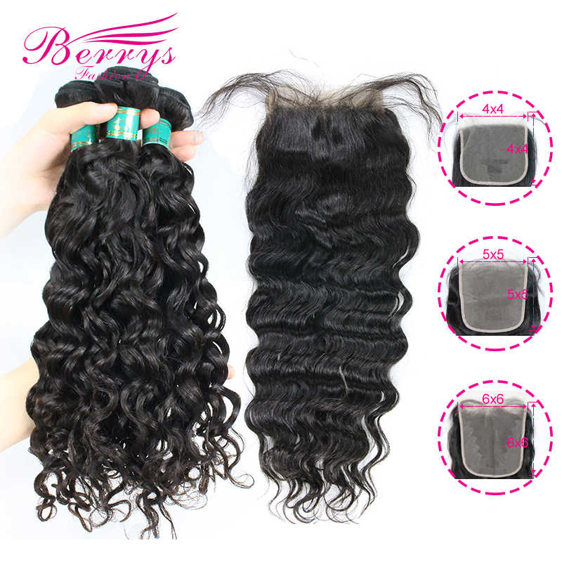 Berrys Fashion Water Wave Bundles With 4x4 & 5x5 & 6x6 Closure 10-28 inch Brazilian Virgin Hair Unprocessed Raw Hair Weft