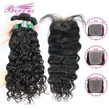 Berrys Fashion Water Wave Bundels Met 4X4 & 5X5 & 6X6 Sluiting 10 28 Inch Braziliaanse Virgin Haar Onbewerkte Haar Inslag
