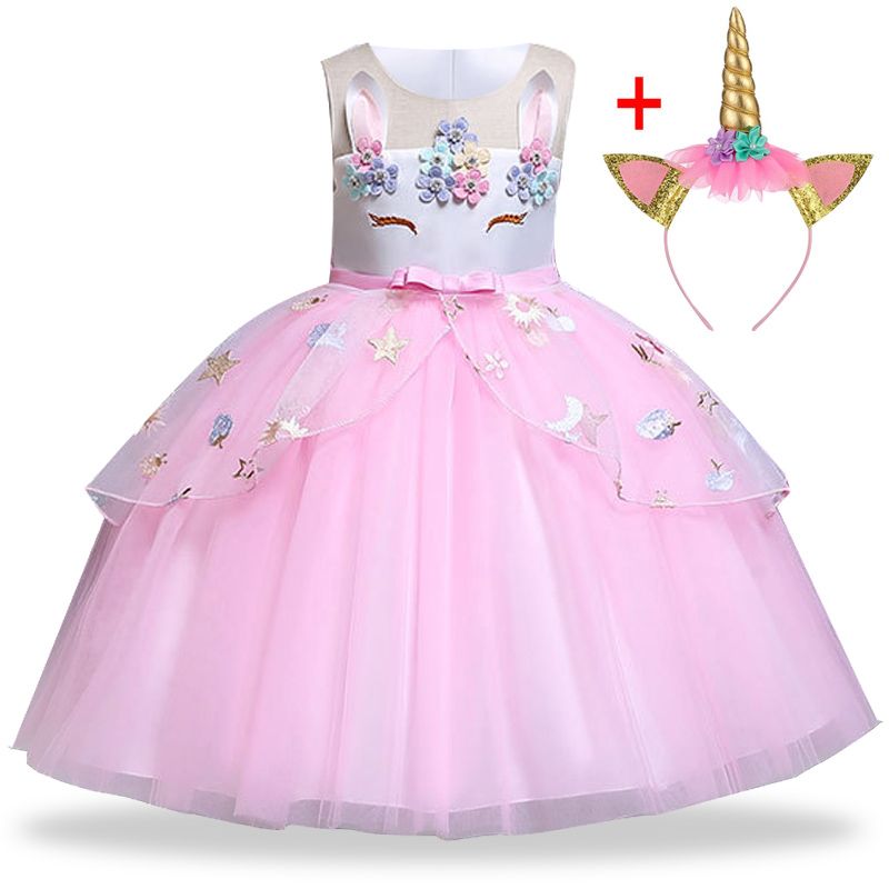 Unicorn Dress Kids Dresses For Girls Christmas Costume Children Princess Dress Girls Birthday Party Dress 3 4 5 6 7 8 9 10 Year
