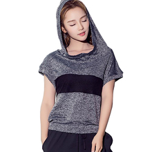 Crop Top Women Hooded Mesh Patchwork Sports Wear Woman Fitness Running T-shirts Seamless Clothing Shirts