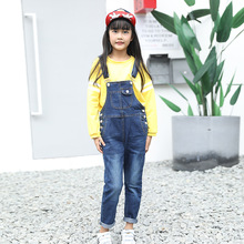 Girls Denim Overalls Spring Autumn Children Clothing Jumpsuit Fashion Teenage Leisure Kids Pants for
