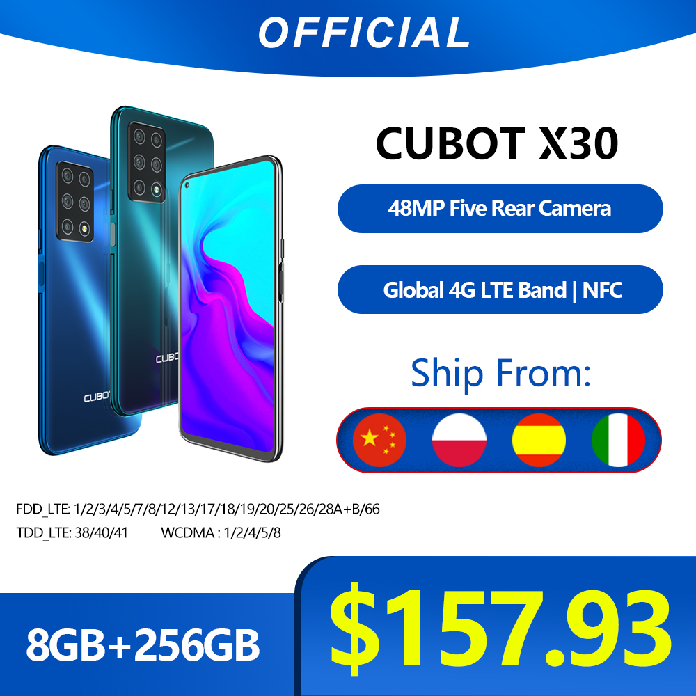 "Cubot X30 Smartphone 48MP Five Camera 32MP Selfie 8GB+256GB NFC 6.4"" FHD+ Fullview Display Android 10 Global Version Helio P60(China)"
