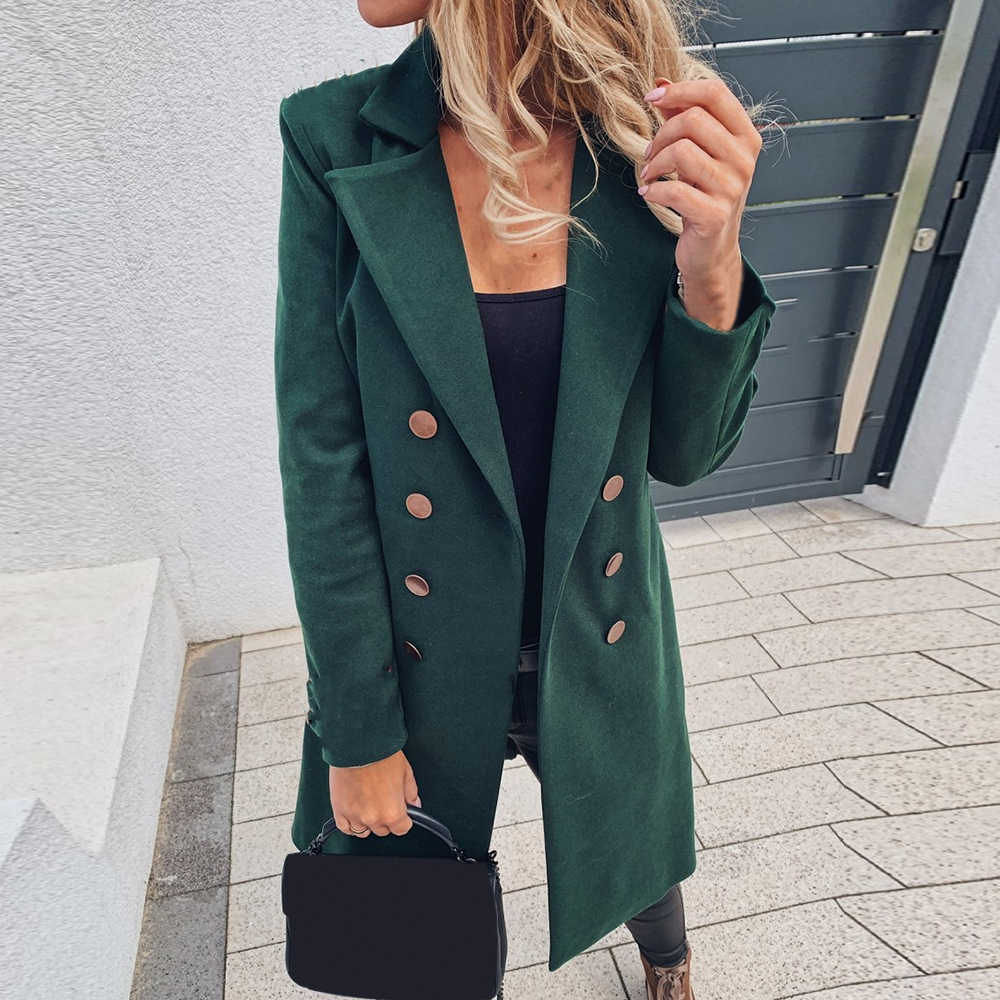LASPERAL 2020 Autumn Fashion Jacket Womens Solid Color Basic Essential Double-Breasted Coat Mid-Long Wool Blend Pea Coat Mujer