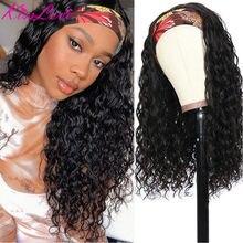 KissLove-Diadema con ondas peluca y bufanda brasileña para mujer, pelucas de cabello humano Remy sin Gel, peluca de cabello rizado sin pegamento con diadema