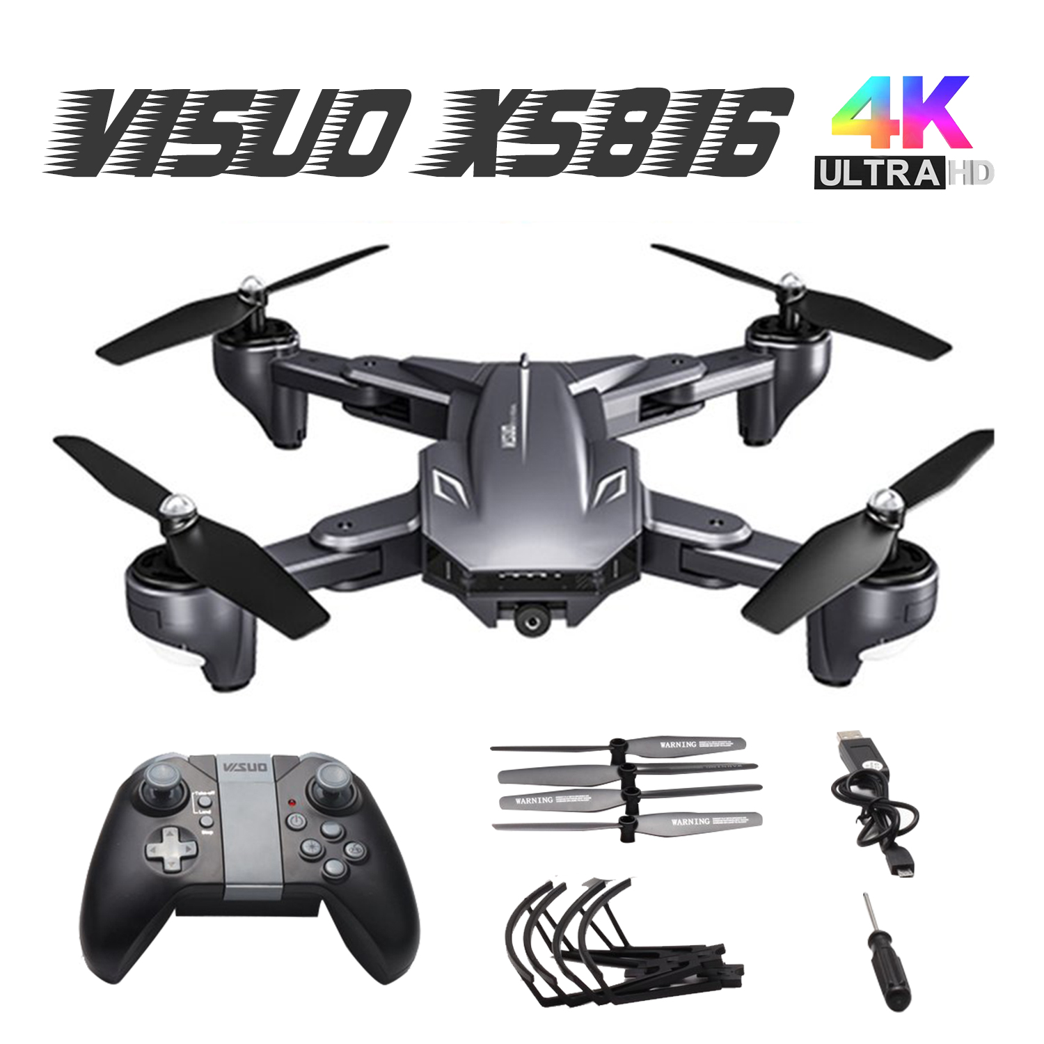 Visuo XS816 RC Drone with 50 Times Zoom WiFi FPV 4K  720P Dual Camera Optical Flow Quadcopter Foldable Selfie Dron VS SG106 M70