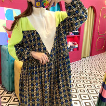 Женское платье на молнии элегантное составного кроя с воротником