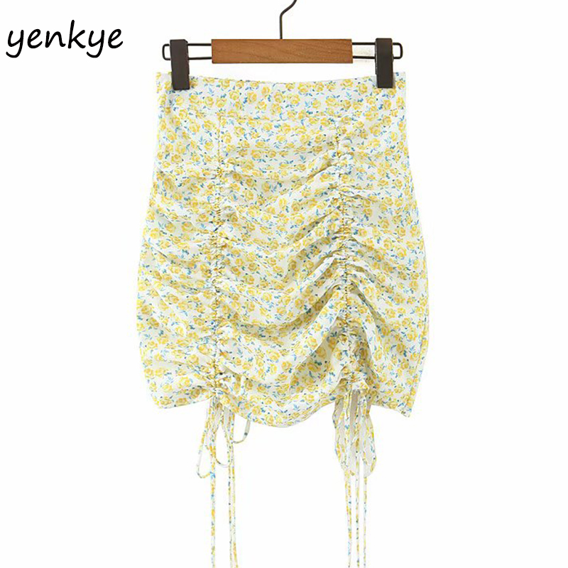 Floral Print Chiffon Skirts Womens Sexy Drawstring Draped Bodycon Mini Skirt Female Holiday Summer Boho Skirt Faldas Mujer