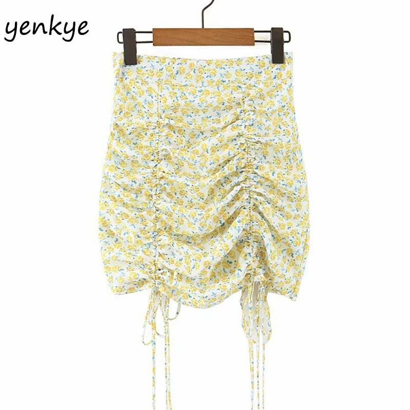 Floral Print Chiffon Skirts Womens Sexy Drawstring Draped Bodycon Mini Skirt Female Holiday Summer Boho Skirt Faldas Mujer