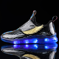IGxx High Top Big' Wing LED Light Up Shoes For Kids HooK&Loop USB Charging Glowing Shoes LED Child Luminous LED Sneakers Boys|Sneakers| |  -