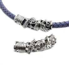 2pcs 7.5mm Hole Antique Silver Tibet Chinese Dragon Tube for Bracelet Necklace Hair Decoration, Metal Retro Slider 43mm Long