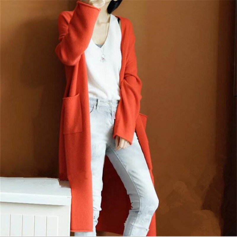 2019 Autumn Winter Women Sweater Thick Loose Cardigan Women Long Sleeve Knitted Orange Women Sweaters Long Coat Kardigan