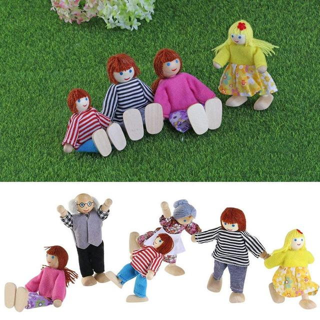 Cute Wooden Happy Family Dressed Puppet Flexible Joints Doll House Accessory Kids Toy Birthday Gift 2