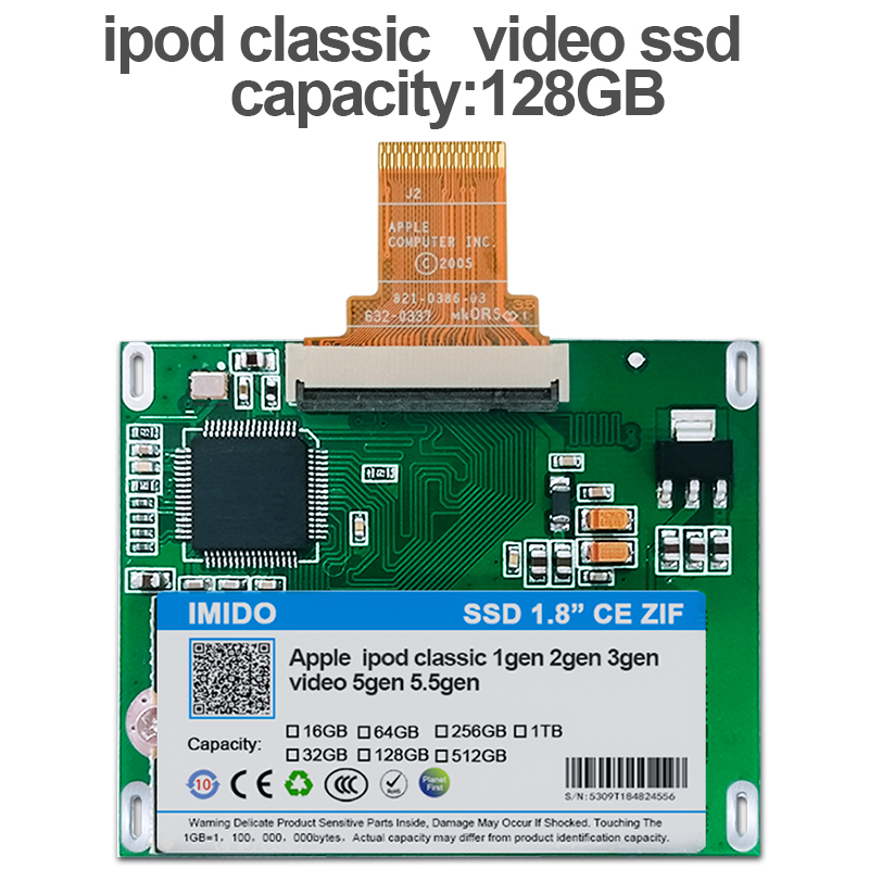 NEW 128GB SSD For Ipod classic 7Gen Ipod video 5th Replace MK3008GAH MK6008GAH MK801GAH MK1634GAL Ipod HDD hard disk