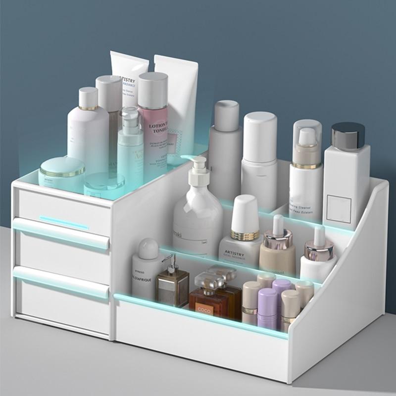 Large Capacity Cosmetic Storage Box Drawer Makeup Organizer Dressing Table Skin Care Rack House Desktop Sundries Organizer