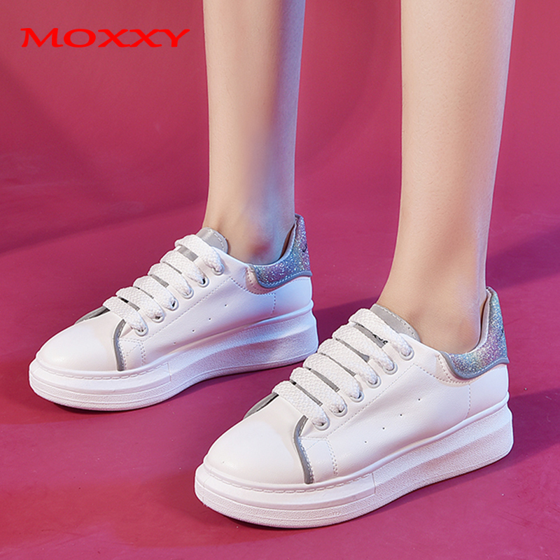 2019 New Brand Platform White Sneakers Women Shoes Female Black Casual Shoes Woman Leather Tenis Trainers Chaussures Femme