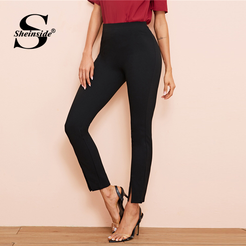 Image 4 - Sheinside Black Elegant High Waist Skinny Pants Women 2019 Autumn Elastic Waist Crop Trousers Office Ladies Split Hem Pants-in Pants & Capris from Women's Clothing