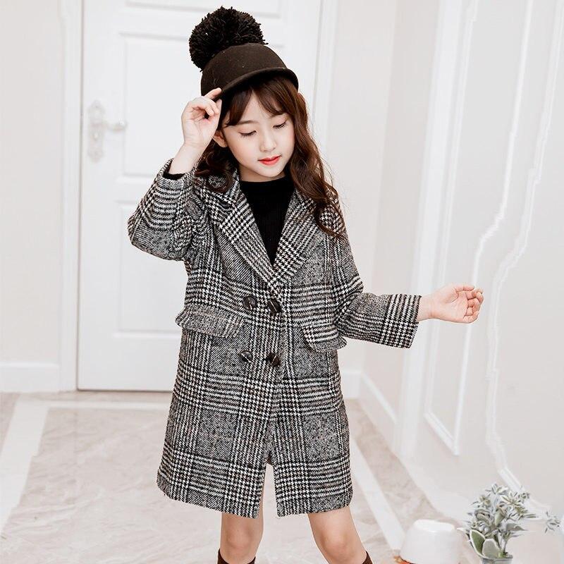 Kids Girl Outerwear Winter New Fashion Houndstooth Wool Coat For Girls Teens Autumn Jacket Warm Long Overcoat Children Windproof