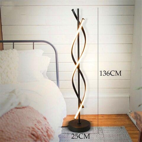 espiral levou quarto lampada de assoalho moderna