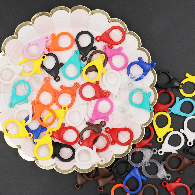 10pcs Colorful Plastic Lobster Clasps Key Chain Key Ring Lamp Shape Buckle Snap Hook For DIY Jewelry Making Findings Wholesale