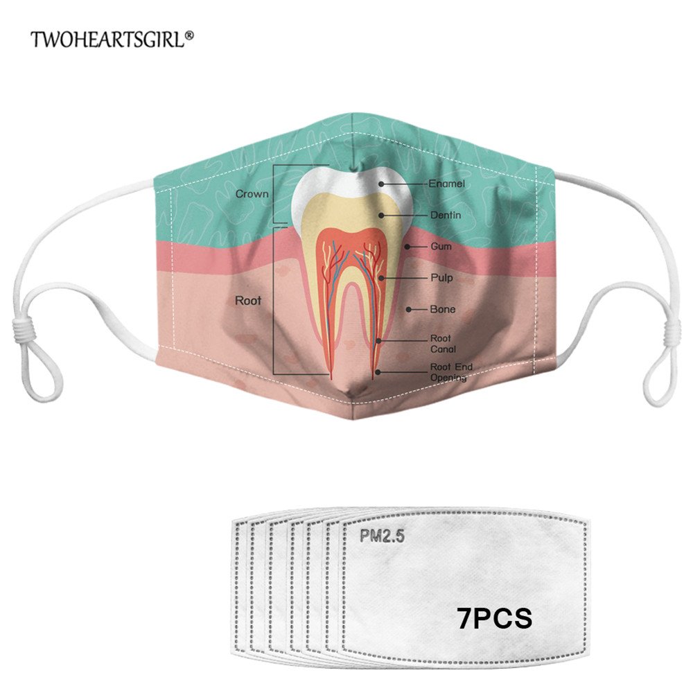 TWOHEARTSGIRL PM2.5 Happy Teeth Pattern Design Mouth Mask With 7Pcs Filter Dust-proof Face Mask Mouth-muffle For Women Men