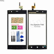 5'' Mobile Touch Screen For Lephone T708 Touch Screen Front Glass TouchScreen Digitizer Panel Lens Sensor Tools Wipes