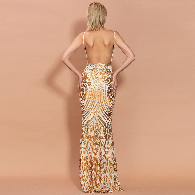 JaneVini Sexy Mermaid Long Prom Dresses Spaghetti Straps V Neck Sparkly Sequined Open Back Women Formal Party Gowns Floor Length