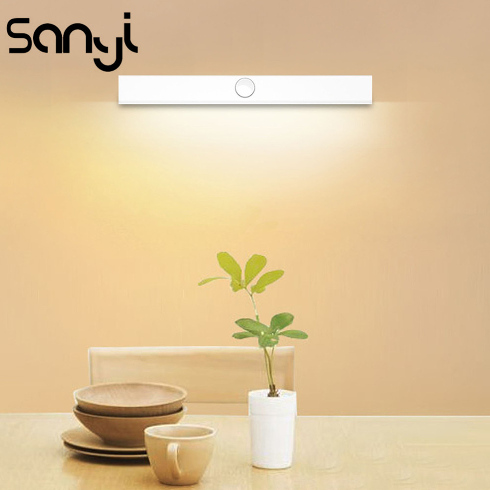 LED Sensor Light Built-in Rechargeable Battery Wall Light Ambient Light+Human Motion Intelligent Sensing Night Light Metal Hook