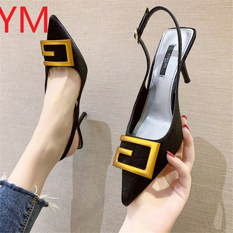 Slingback Sexy Women Pumps Fashion Ladies High Heels Shoes Soft Leather Heels Shoes Woman Pointed Toe Non slip Brand Summer 2020
