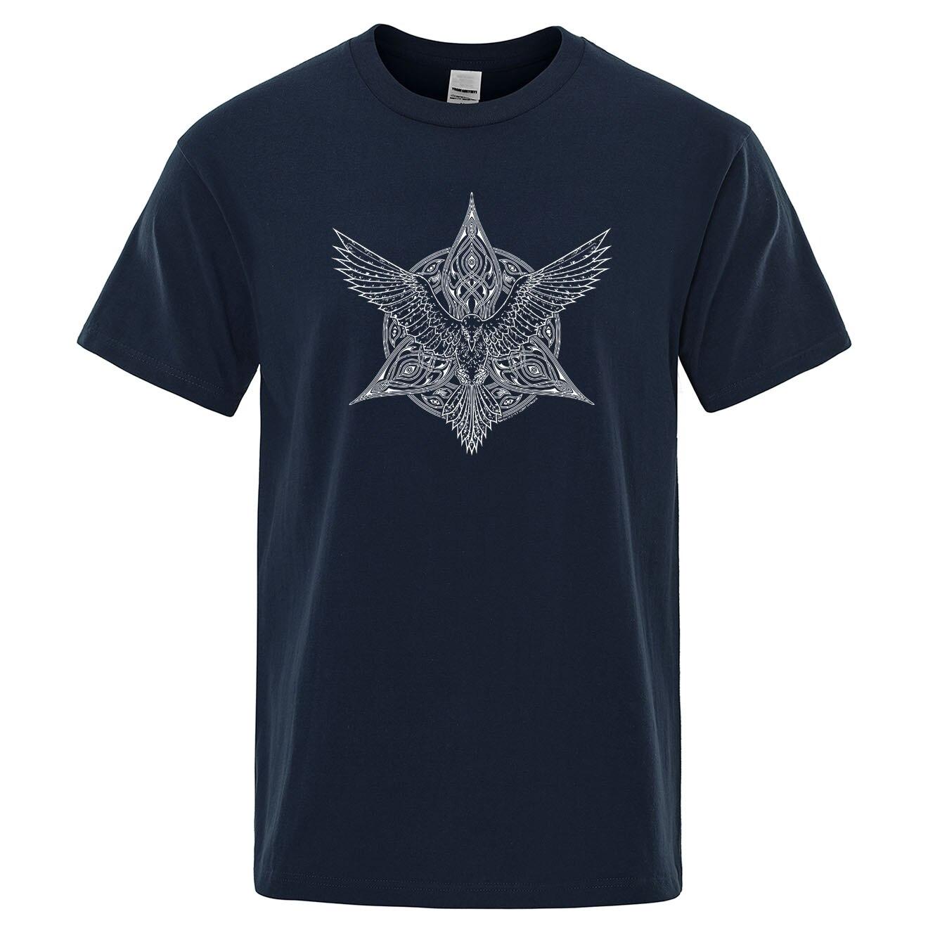 Odin Vikings Tshirt Men Ragnar Raven T Shirt 2019 Summer Cotton Tops O-Neck Short Sleeve Mens T-Shirt TV Show Viking Legend Tees