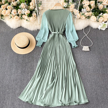 Autumn Fashion Streetwear Long Dress Design French Pleated Maxi Dress Women Elegant O Neck Long Sleeve A-line Dress 1