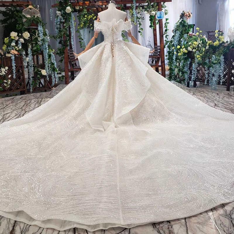 HTL575 כמו לבן חתונה שמלות כבוי כתף מיוחד תחרה עד בחזרה כלה שמלות 2019 רב שכבה vestido דה noiva בתוספת גודל