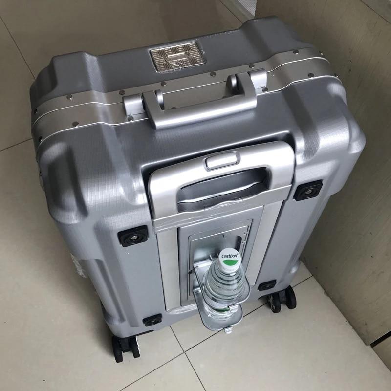 100% de equipaje con estructura de aluminio TSA, accesorio de lujo, bolso valija con carrito, marca de viaje, 20/24/29 pulgadas