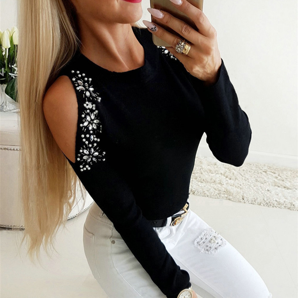 2020 New Spring Women Cold Shoulder Blouse Tee Ladies Long Sleeve Slim Fit Casual Tops Shirt Pullover