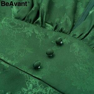 Image 5 - BeAvant סקסי v צוואר קצר המפלגה שמלת ירוק סרט אלגנטי שמלת פנס שרוול יחיד חזה אונליין מיני שמלת הקיץ