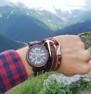 Image 2 - BOBO VOGEL Mens Wood Horloges Topmerk Luxe Militaire Rvs Chronograph Horloge Grooms Gift relojes para hombre