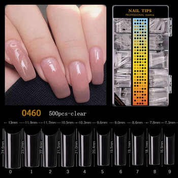 500pcs C Curve Half Cover False Nails French Acrylic Straight Square Tips Salon Art Gel UV Extension Fake Tip Nails For DIY image
