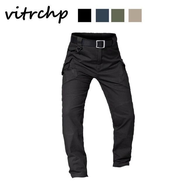 VITRCHP 2021 Mens Jogging Track Pant Multiple Pocket Elasticity Military Urban Commuter Tacitcal Trousers Slim Fat Cargo