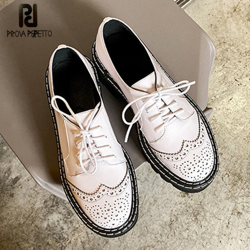 Prova Perfetto Women Shoes Thick Bottom Brogue Shoes Female Sewing Shoes Lace Up Cow Leater Shoes Simple Zapatos De Mujer Shoes