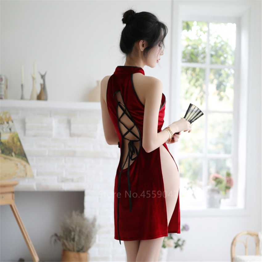5Colors Woman Sexy Cheongsam Chinese Style Lace Backless Halter Split Dress Vintage Appeal Perspective Pajamas Party Mini Qipao