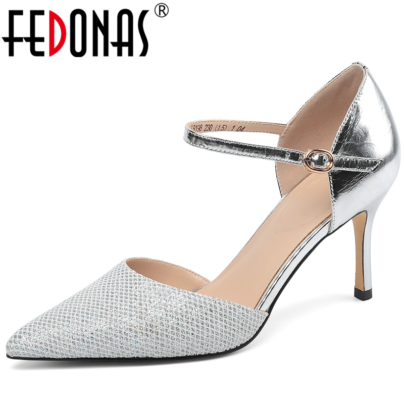 FEDONAS Women Mixed Colors Mesh Ankle Buckle Pointed Toe Shoes 2020 Spring New Party Wedding Prom Elegant High Heels Shoes Woman